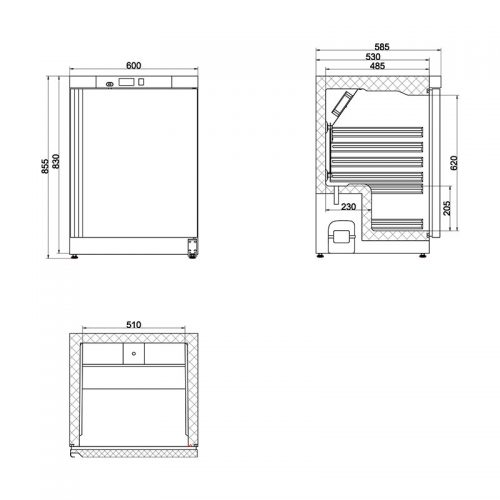 Dimension - 78L Single Solid Door Commercial Refrigerator | CSS1H-SD-HT